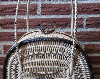 Tiki Straw Basket Tote. Tiki Fashion Tote, Tkik Straw Basket Tote, Tiki Basket Tote, Tiki Tote, Tiki Straw Purse, Tiki Straw Basket Purse