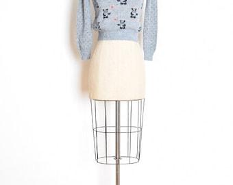 vintage 80s sweater, panda bear sweater, hearts sweater, kinderwhore, kinder sweater, gray sweater, novelty sweater, 80s jumper, XS