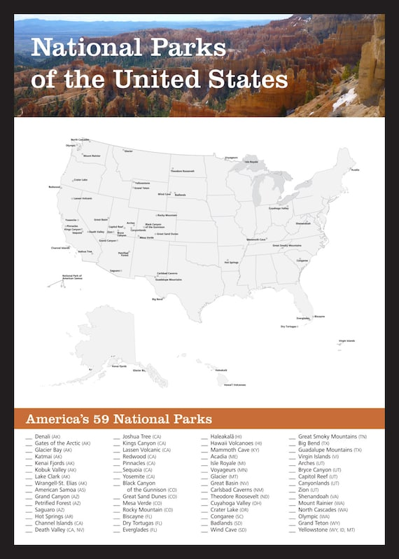 Amazing image within printable national park checklist
