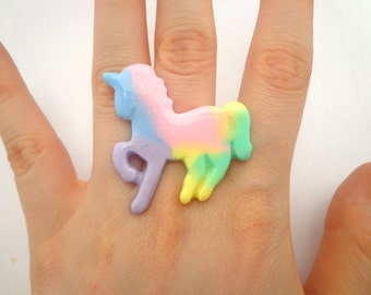 SALE! Pastel rainbow unicorn ring