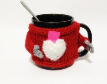 Wool Cute Fashion Mug Sweater Cozy With Heart Pocket