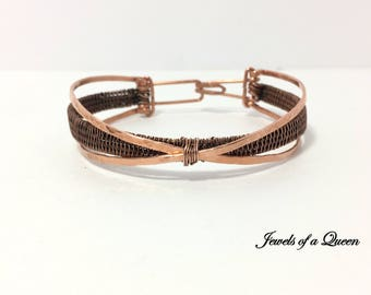 Copper Bracelet ~ Handmade Wire Wrapped Bracelet ~  Criss Cross Copper Bangle Bracelet ~ Wire Wrapped Jewelry ~ Copper Cuff Bracelet