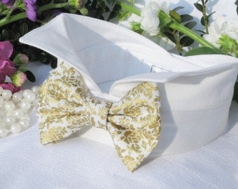 Dog Bow Tie Collar~Gold Floral Bow~Wingtip Collar~Wedding Dog Collar~Dog Tuxedo~Pet Bow~Dog Wedding Attire~Garden Wedding~Gold Wedding~