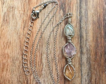 Short apophyllite, fluorite, and topaz necklace / green fluorite necklace / purple fluorite necklace / wire wrapped crystal necklace