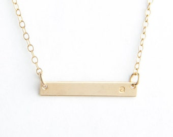 """Mini Initial Bar Necklace, 1"""", Gold Filled, Sterling Silver or Rose Gold Filled"""