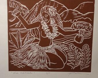 Mele Kalikimaka, Merry Christmas! by Douglas Pooloa Tolentino a Linoleum Block Print of a Hula Dancer in Lei & Ti Skirt Uli Uli