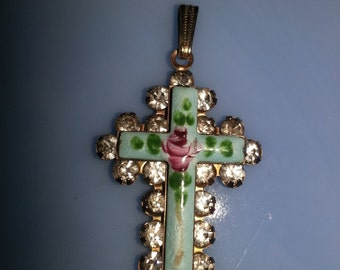 "Vintage 1950s Guilloche Metal and Hand painted Enamel Rhinestone ""Rose"" Small Cross Pendant"