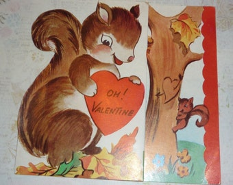 Squirrels and Tree - I'm Nutty About You Vintage A-meri-card Vintage Valentine
