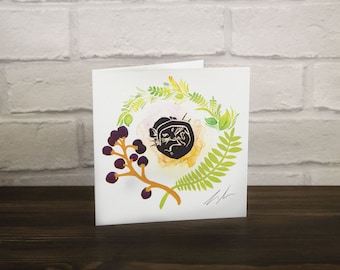 Dormouse greeting card - Birthday card - Gift for her - Blank Card - Thank you card - Gift for women - Mothers day card - Floral