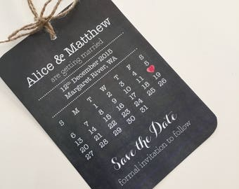 Custom Printable Save the Date Card - Chalkboard Heart Design