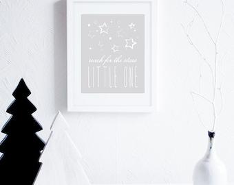 Little One Nursery Art Print, Reach for the Stars Little One Digital Art Print, Grey Nursery Art,  Neutral Nursery Decor, Art Printable