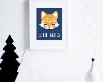 Lil Bro Fox Nursery Printable Art, Little Brother Art, Woodland Wall Art for Boys Nursery, Navy Blue Nursery, Foxes Instant Download
