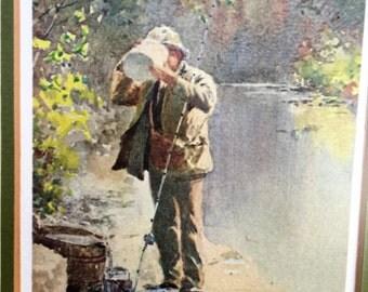 Kentucky Artist Paul Sawyier Fisherman at Knights Bridge/Mill Pond Fisherman Americana Artist Set of 2