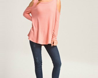 Coral Cut Out Cold Shoulder Top - FREE SHIPPING - Free Monogram