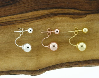 925 Sterling Silver Double Ball Earrings, Gold Vermeil, Rose Gold
