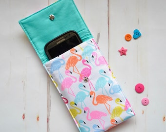 Flamingo phone case, phone sleeve, padded phone cover, ipod case, cell phone cover, mobile pocket, glasses case, tropical case, gadget bag