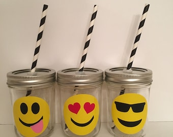 1 Personalized Glass Mason Jar Emoji Cup, Canning Jar Sippy cup, custom baby cup, Personalized Baby Cup, Toddler Cup, party favor, baby gift