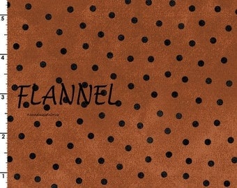 Maywood Studio Woolies Flannel MasF18506-O Burnt Orange, Rust Flannel, Rust & Black Dot Quilting Flannel, Cotton Flannel Quilt Fabric