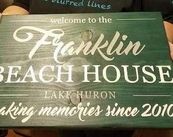 FAMILY BEACH HOUSE, custom wood sign