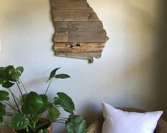 Georgia State Sign | Reclaimed Barn Wood | Pallet Sign | Home Decor | Wall Art | The Peach State | Atlanta | Savannah |