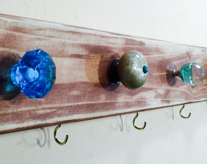wooden wall coat rack /entryway organizer hanging mudroom organizer reclaimed wood art aqua 8 gold hooks 7 teal blue glass knobs