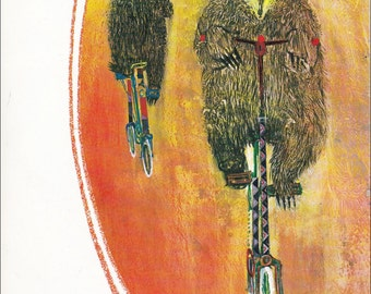 Circus Bear on a bike clown 70's mid century colourful children's illustration retro nursery decor Brian Wildsmith 8.5x11 inches
