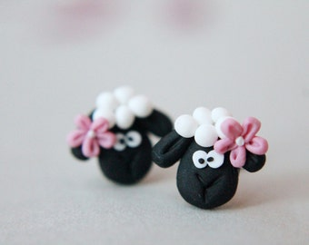 Sheep Earrings - Polymer Clay Jewelry - Handmade Earrings - Fimo Earrings - Fimo Studs - Clay Earrings - Handmade Studs - Easter Gift