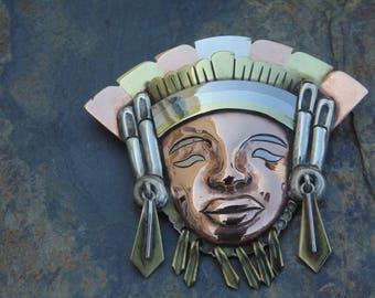 Victoria ~ Vintage Ana Maria Nunez de Brilanti ~ Taxco Copper, Brass and Sterling Tribal Warrior Pendant / Pin c. 1950's