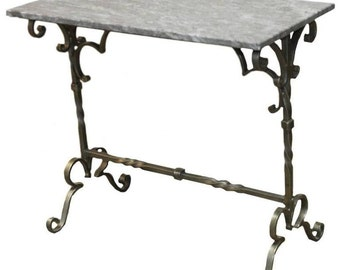 French Style Wrought Iron Marble-Top Console Table