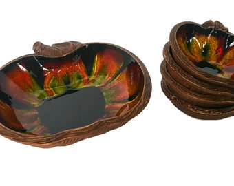 Apple shaped bowl set California pottery Sequoia Ware snack dishes