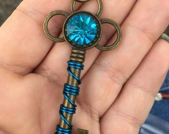 Blue Gemstone Key Charm