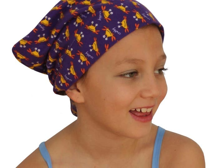 Featured listing image: Mia Children's Flannel Head Cover, Girl's Cancer Headwear, Chemo Scarf, Alopecia Hat, Head Wrap, Cancer Gift for Hair Loss - Purple Crabs