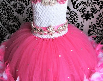 Pink Pageant Dress/Rhinestone Pageant Dress/White Feather Dress/Pink Feather Tutu/Baby Girls' Dresses/Girls Dresses/Pink Birthday Outfit