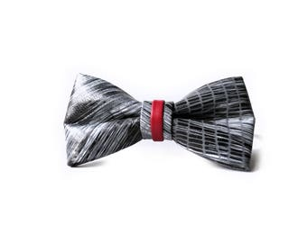 Black White bow tie. Unique Bow Tie in leather. Gray red bow tie. Groom bow tie. Mens Accessories. Mens gift ideas. Wedding accessories