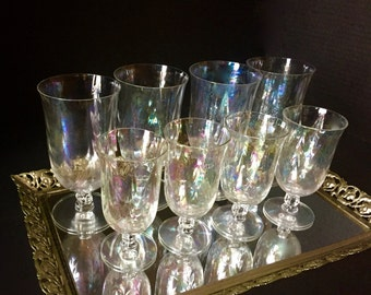 Coral Pearl Glasses...Iridescent Glass...Fostoria