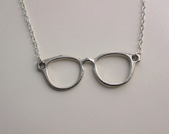 Glasses Necklace - Antique Silver Glasses Necklace - Glasses Pendant Charm Necklace - Glasses Necklace- Spectacles- Glasses- Nickel Free