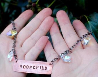 MOONCHILD -  Handmade moonchild choker - stars - crystal - gunmetal - copper
