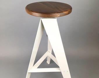 "Bar stool, 26"" adjustable height, White Powder Coated Base, Solid Walnut Seat, metal, swivel, furniture, rustic, modern furniture, old tree"