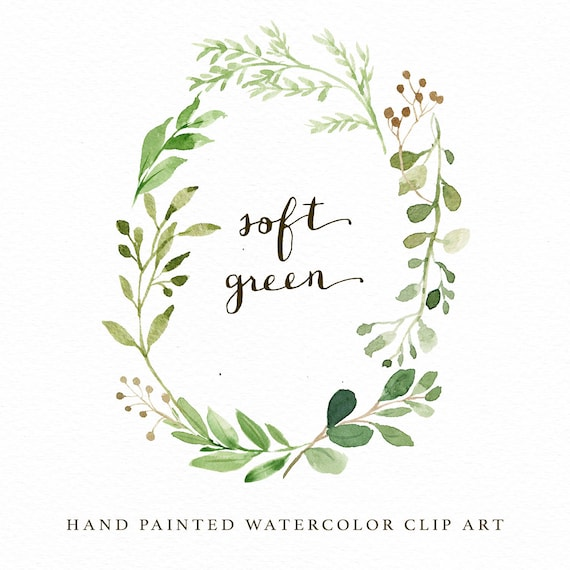 watercolor oval leaf wreath clip art individual png