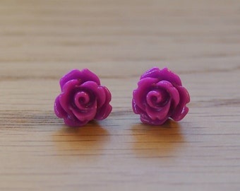 Little purple rose earrings, resin rose earrings, stud earrings, surgical stainless steel posts