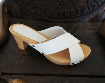 Sabot  handcrafted wooden and leather