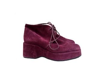 1980s suede purple PLATFORMS laced up shoes // women platforms 80s shoes Booties  // size eu 37- uk 4 - us 5.5