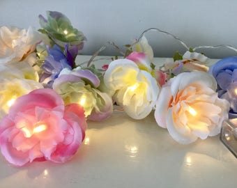 Colored roses fairy lights,  shabby chic fairy lights, Flower string lights, Rose Lights String Garland, 20 led lights