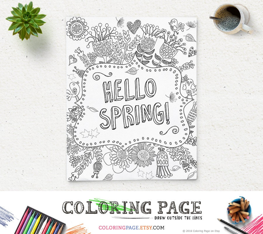 Coloring Page Printable Art Hello Spring New Year Instant