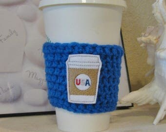 USA Cup Cozy, Crochet Sleeve, Drink Holder, Hot or Cold Beverage, Patriotic, 4th of July, America, Birthday Gift, Cup Warmer, Party Favor