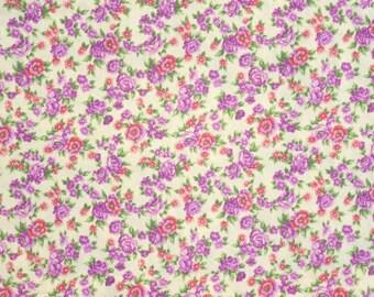 """Destash Purple Floral Fabric, 2 Pieces 35"""" each, Purple Floral Cotton Fabric, Floral Cotton Purple, Cotton Fabric Purple Flowers"""