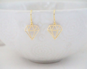 Matte Gold Geometric Diamond Earrings
