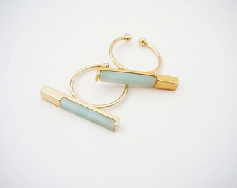 Mint Green and Gold Bar Statement Ring