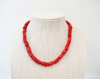 Red Coral Bead Statement Necklace