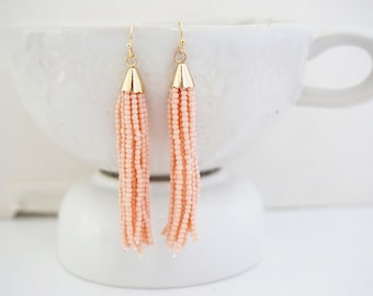 Blush Pink and Gold Beaded Tassel Earrings